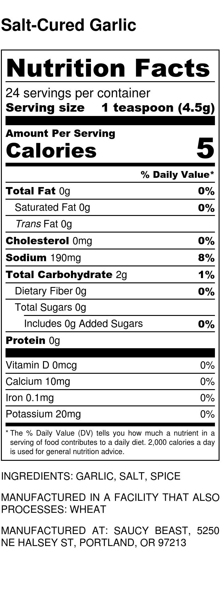 Salt Cured Garlic label